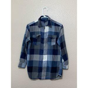 Gap Boys Blue Plaid Flannel Shirt light jacket zip